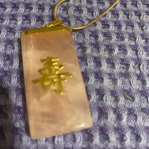 New Gold Plated Necklace With Pink Stone Pendant